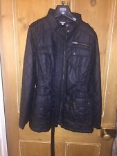 M&S Black Quilted Wax Style Jacket Size 10