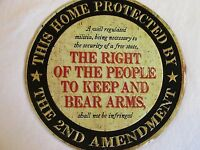 HOME PROTECTED 2ND AMENDMENT EMBOSSED LETTERING METAL TIN SIGN  STORE DECOR!!!!!