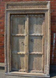 Hand Carved Timber Indian Antique Doors Architectural Statement Piece