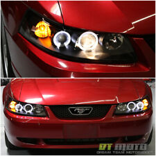 Blk 1999 2004 Ford Mustang Gt Svt Cobra Led Halo Projector Headlights Headlamps Fits Mustang