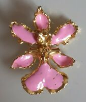 Vintage Gold Plated And Enamel Orchid Pendant Brooch. Signed