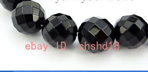 Natural 6/8/10/12mm black agate round faceted gemstone loose beads 15 inches