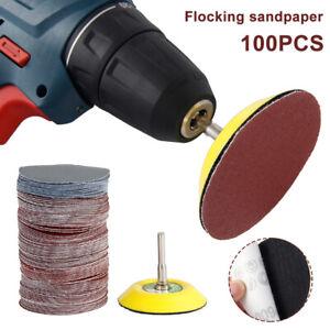 "100PCS 3""Sanding Discs 80-3000Grit Orbital Sander Pad Velc+Shank Drill Loop Hook"