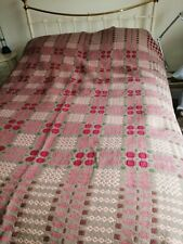 More details for tapestry welsh wool reversible vintage  blanket in raspberry ,fawn multicoloured
