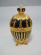 Vintage Black And Gold Crown Egg Trinket Box