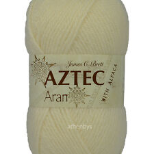 James C Brett Aztec Aran With Alpaca Knitting Wool 100g Ball - Complete Range Al2 Cream