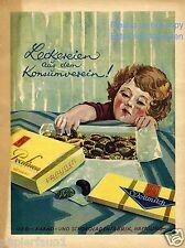 Schokolade GEG Hamburg Reklame von 1930 Kind naschen Pralinen Schokoladenfabrik