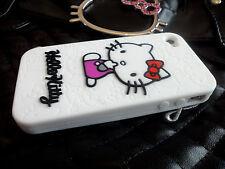 Haute Qualité Mignon Hello Kitty blanc gel de silicone pleine coque pour iPhone 4 4S