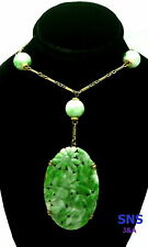 "Art Nouveau Antique Chinese Curved Jade Pendant & Beads Lavaliere Necklace 15"" L"