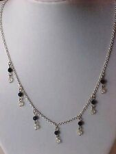 """Black Crystal Necklace Fringe Pave Bead Silver Chain Adjustable 16"""" to 18"""""""