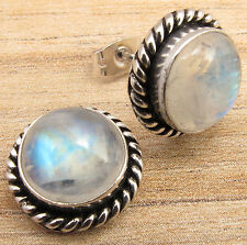 NATURAL FIRE RAINBOW MOONSTONE GEMS JEWELRY STUD EARRINGS ! 925 Silver Plated