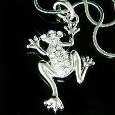 NEW w Swarovski Crystal Rhinestone Jungle Toad FROG Prince Pendant Necklace XMAS