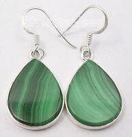 ".925 Solid Silver GREEN MALACHITE FLAT GEM BESTSELLER DECO Earrings Pair 1.6"""