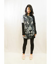 Lady Tiger Leopard Print Batwing Knitted Cotton Long Sweater Jumper Top