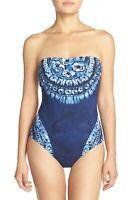 Women's La Blanca Moody Blues Bandeau One-Piece Swimsuit Midnight Size 10