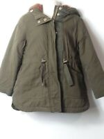 GIRLS ZARA GIRLS AGE 5 YEARS KHAKI HOODED PADDED PARKA COAT JACKET KIDS