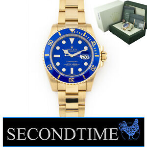 Rolex Submariner 40mm 18k YG 116618 LB Pappa Smurf - Discontinued Yellow Gold