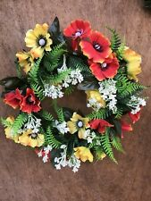 Orange Yellow Anemones Wreath Artificial Poppy Wreath Candle Ring Fake Flowers