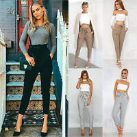 Ladies Women's Harem Chiffon Pants Casual Slim High Waist Elastic 3/4 Trousers