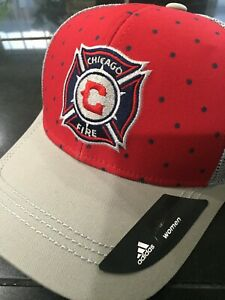 WOMENS ADIDAS CHICAGO FIRE TRUCKER SNAPBACK HAT Cap Hat MLS RED/GRAY  NWT
