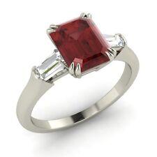 Natural Garnet & VS Diamond Engagement Ring In 18k White Gold- 1.72 Ct Sizable