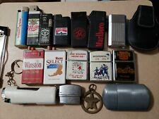 Lot of 17 Vintage Cigarette Lighters, Camel, Marlboro, Winston, Ronson, AADLP