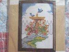 Caron International Floral Birdbath Counted Cross Stitch Kit