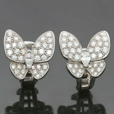 Authentic VAN CLEEF & ARPELS Butterfly Diamond White Gold Earrings