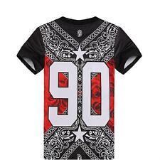 Fashion Men's Casual 3D Number 90 Geometric Printed Hip Hop Top Tee T-shirt FW