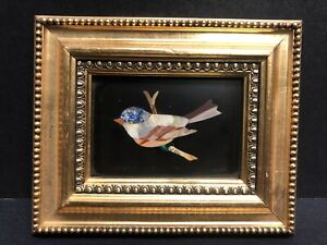 Italian Pietra Dura Stone Bird on Branch Framed Plaque