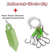 6 Meter Rotbarsch  Rig  Vorfach Green Selbstleuchtend + 1 Non Toxic Sinker 500g