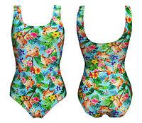 Tropical Flamingo Floral Flowers Retro Vintage Rockabilly Swimsuit Bodysuit