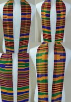 Authentic African Kente Cloth Stole Scarf made in Ghana, Multicolor, Graduation