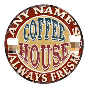 CP-0144 ANY NAME'S COFFEE HOUSE Custom Personalized Tin Sign Decor Gift ideas