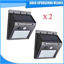 2 X FARO FARETTO 20 LED PANNELLO SOLARE RICARICABILE SENSORE MOVIMENTO ESTERNO
