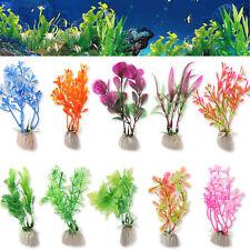 10pcs Mixed Artificial Aquarium Fish Tank Green Plastic Plant Grass Ornament