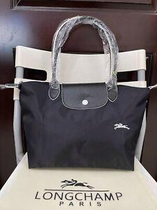 Women's new embroidery black Longchamp Le Pliage nylon handbag handbag large