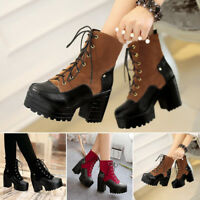 34faf333516 Women s Fashion Vintage Chunky Heel Platform Lace Up Block Heel Ankle Boots