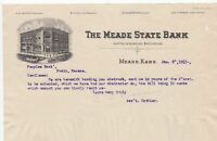 U.S. THE MEADE STATE BANK Meade,Kans. 1913 Illustrated Invoice Letter Ref 44021