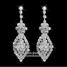 New Silver Diamante Crystal Rhinestone Leaf Flower Long Earrings Wedding Prom