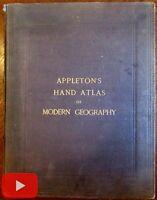 World Atlas 1874 Appleton's complete 31 color lithographed map uncommon quarto