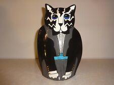 Cats By Nina Ceramic Black & White Striped Tuxedo Cat Bud Vase/Figurine