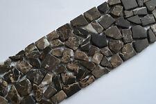 Fliese Bordüre Mosaik braun Marmor Bruchstein 10 x 30 x 0,8cm Bad Dusche Küche