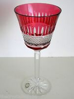 "1 AJKA ALISANNE Cranberry cased cut to clear 9"" crystal large volume wine goblet"