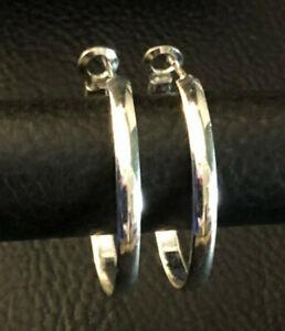 "Sterling Silver Hoop Earrings Rhodium Plated Omega Back Thai 1.1"" 3.7g 925 #1479"