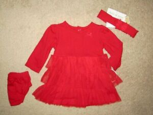 Carters size 3/6 Months Girls 3 piece Red TuTu Party Dress  NWT