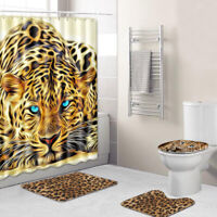 Leopard Shower Curtain Bathroom Rug Set Non-slip Toilet Lid Cover Bath Mat