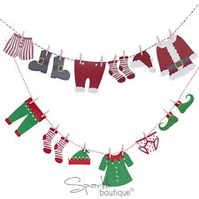 SANTA / ELF WASHING LINE MINI BUNTING & PEGS - Christmas/Xmas Advent Shelf Idea