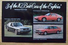 PORSCHE 928 & AUDI Coupe & 5000 Turbo 1980s orig USA Mkt sales postcard brochure