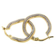 Echt Gold Damen Ohrringe Gelbgold mit Silber Sandmatt in 585 Gold Creolen 2857